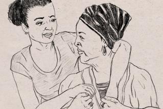 איור של אם מבוגרת ובתה